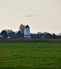 Pilling Windmill (Joan's Pics 2012) Tags: pillingwindmill nosails balcony restored privatehome geese overhead