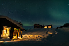 Log Cabins (pboolkah) Tags: canon canon5d canon5dmkiv snow lodge cabin sky astro night stars northernlights