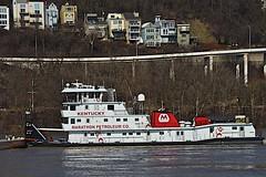 Towboat pushing down the Ohio River (durand clark) Tags: ohioriver ohiorivertowboat towboat mtadams cincinnati southwestohio towboatkentucky marathonoil landslide nikond750