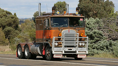 Primed (2/3) (Jungle Jack Movements (ferroequinologist)) Tags: kenworth w900 k124 international harvester ih inter lowe greensborough ken kenny kw k100 highway hauling haulin hume sydney 2019 yass classic historic vintage veteran hcvca vehicle run hp horsepower big rig haul haulage freight cabover trucker drive transport delivery bulk lorry hgv wagon nose semi trailer deliver cargo interstate articulated load freighter ship move roll motor engine power teamster tractor prime mover diesel injected driver cab wheel