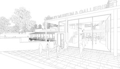 New museum entrance and cafe beyond