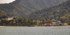 View from the ferry on the famous Floating Torii and the Itsukushima shrine (fnks) Tags: asia japan tokyo hiroshima miyajima island sea trees ropeway shrines buddhism temples ferry sky deer beach tides tanterns water sunshine mountains