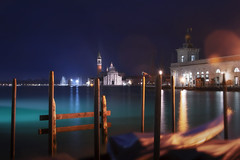 Venetian paths 140(San Giorgio Maggiore e Punta della dogana) (Maurizio Fecchio) Tags: venice venezia italia italy city cityscape lights church famous place morning sunrise architecture travel tranquility nopeople longexposure boats gondola water canal grande reflections building