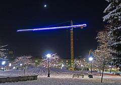 Night Crane, with Crescent Moon (sea turtle) Tags: seattle capitolhill calanderson calandersonpark snow urban city northwest pacificnorthwest crane moon crescent crescentmoon night