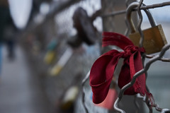 Ribbon (Michal Zawolek) Tags: krakow kraków krakau krakov cracow cracovia poland polska polen ribbon bridge lock footbridge fence padlock padlocks locks bokeh boke depth field depthoffield city