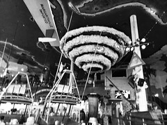 Restaurant In Black And White. (dccradio) Tags: myrtlebeach sc southcarolina horrycounty broadwayatthebeach jimmybuffet jimmybuffetsmargaritaville margaritaville restaurant food fun eat meal lunch supperdinner vacation travel tourism february monday mondayafternoon goodafternoon afternoon hurricane tornado blender giantblender bw blackandwhite blackwhite boat boats yacht yachts samsung galaxy smj727v j7v cellphone cellphonepicture