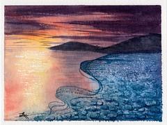 Problem Solving: Pebble Beach Sunset (alisonleighlilly) Tags: watercolor painting art landscape sea beach pebbles sunset