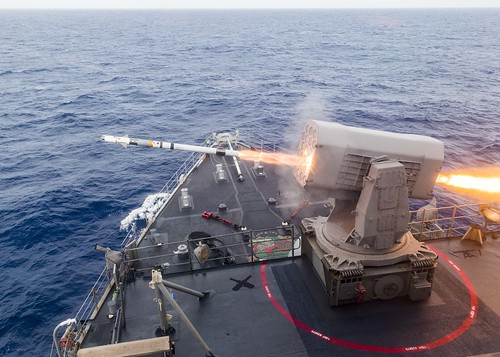 USS Ashland (LSD 48) launches a Rolling Airframe Missile (RAM) during a missile exercise in the Pacific Ocean.