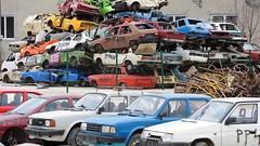 Slovak scrapping scheme of the 2000s (Skitmeister) Tags: skoda lada favorit estelle wreck wrecking yard scrap metal car skitmeister