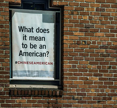 what does it mean to be an american? (pbo31) Tags: bayarea california nikon d810 color night dark april 2019 boury pbo31 sanfrancisco city chinatown claystreet sign chinese brick brown museum political nationality usa america