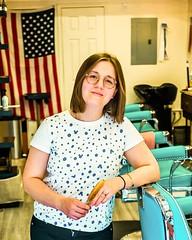 Anastassia, My Barber From Minsk (Ed Newman) Tags: portrait woman barber shop brooklyn nyc gothamist newyork flag