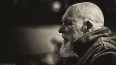 Bald heads and beards ! (Neil. Moralee) Tags: bristol2019neilmoralee neilmoralee man mature old bald balding beard distinguished anguish sepia toned black white bw blackandwhite bristol hard warm warmth subtle neil moralee nikon d7200 candid profile hair loss mono monochrome face portrait