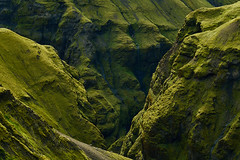 Green Hills of Thakgil (azhukau) Tags: iceland mountainrange canyon green hill moss thakgil outdoors landscape travel hiking mountain summer evergreen beautyinnature majestic nature slope grass escarpment