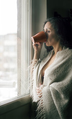 Morning thoughts and coffee... (Lorre_1) Tags: woman window coffee morning selfportrait canon 50mm sweden