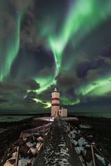 The old lighthouse (Kjartan Guðmundur) Tags: iceland ísland auroraborealis northernlights norðurljós nocturne nightphotography nightscape nature nordlys stars sky clouds frost sea snow rocks kjartanguðmundur