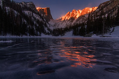 Cold Morning on Dream Lake (NickSouvall) Tags: orange red warm color glow glowing light morning alpenglow alpine environment peaks mountains hallet peak dream lake rocky mountain national park estes colorado sunrise cool cold ice frozen frost freeze snow snowy icy reflection landscape nature scenery winter wilderness