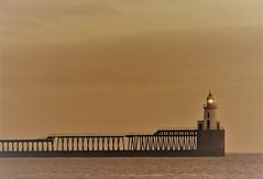 Port Of Blyth - Harbour Light (Gilli8888) Tags: nikon coolpix p900 coast coastal eastcoast northeast northumberland northsea blyth blythbeach lighthouse seaside sea sunrise dawn morning february light portofblyth harbour monochrome angles geometric linear