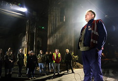 "Press rehearsal of ""We Are Still Here"", a play by the National Theatre Wales, about steelworkers in Port Talbot, south Wales, UK (common_wealthHQ) Tags: wales welsh play theatre acting actors actresses port talbot steel works steelworks tata workers working employement political warehouse wearestillhere swansea greatbritain gbr"