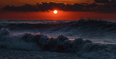 Sunset Waves (free3yourmind) Tags: waves wave sunset sun sea blue dark clouds cloudy batumi georgia travel dramatic