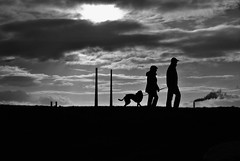 Dollymount (béalbocht) Tags: bw people dog street chimneys silhouette dollymount dublin ireland
