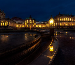 Enigma (b.adolphi) Tags: zwinger dresden sachsen saxnoy germany dark bluehour blue gold light shine glow reflection puddle lamp building sky