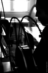 sleeping beauty at the spinning wheel (simone.pelatti) Tags: film pellicola cinema bn bianconero blackwhite bw light shadow contrast silhouette projection projectionist
