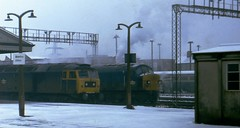 Seasonal Simmering Sulzers (Stapleton Road) Tags: winter sulzer train station snow platform steam cold freezing newtonabbot class45 class47 47140 45013