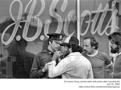 1982 police speak with co-owner Doug Jacobs after fire 7-22-82 (albany group archive) Tags: albany ny history 1982 police doug jacobs jb scotts fire july 22 central avenue bar nightclub venue 1980s old vintage photos picture photo photograph historic historical