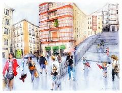 Bilbao - España (guymoll) Tags: bilbao espagne spain españa basque vasco paysbasque croquis sketch aquarelle watercolour watercolor ahguarela acuarela peraonnages immeubles parapluies escalier paisvasco