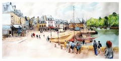 Auray Saint Goustan - Bretagne - France (guymoll) Tags: googleearthstreetview auray saintgoustan bretagne france port harbour bateaux ships maisons panoramique panoramic aquarelle watercolour watercolor aguarela acuarela