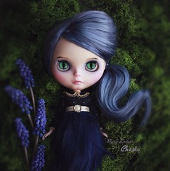 Green 🌿 (pure_embers) Tags: pure embers laura uk pureembers photography art doll cute cheshire cat wonderland blythe dolls custom england girl freddy tan freddytan blue alpaca hair fantasy cheska emberscheska dark green moss eyes flowers lounginglinda
