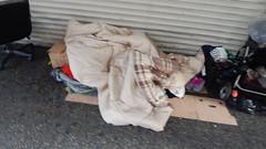 Homeless Life DTLA (ddbrad) Tags: homeless life dtla broadway poor sidewalk america los angeles sleep cover buggy cart baby black white american