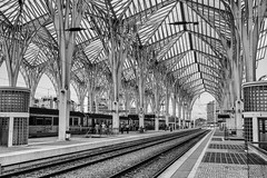 Dentelle lisboète (Nadia (no awards please !)) Tags: lisbonne gare railwaystation calatrava architecture nb bw