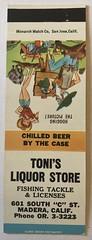 TONI'S LIQUOR STORE MADERA CALIF (ussiwojima) Tags: tonisliquors liquorstore liquor madera california advertising matchbook matchcover