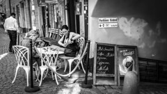 At a restaurant in Stockholm Sweden31/7 2016. (photoola) Tags: stockholm gamlastan street servering oldtown sweden monochrome blackandwhite photoola