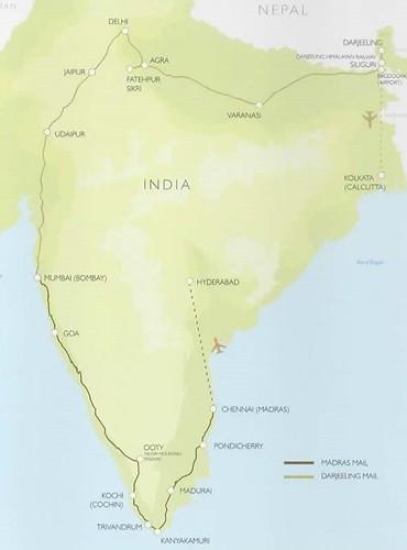 Deccan Odyssey Darjeeling Mail Madras Mail Map