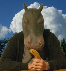 24 - 365 banana (horsesqueezing) Tags: hippo mask banana selfie selfportrait 365