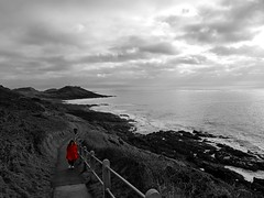 Lady in Red (spayne18) Tags: coloursplash coast mumbles southwales bay