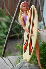 Malibu PJ Heads to the Big Wave (Emily1957) Tags: sunlovinmalibupj1978 barbie doll dolls mattel fashion 1978 light naturallight nikon nikond40 surfboard toy toys