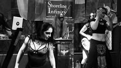 Event Horizon March 2019 033 (byronv2) Tags: music musician woman women makeup stage band krow krowandtheelectrictemple goth gothic punk electro blackandwhite blackwhite bw monochrome dance shorelineofinfinity eventhorizon edinburgh edimbourg scotland frankensteins georgeivbridge