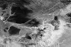 Grand Canyon with Snow, variant (sjrankin) Tags: 11march2019 edited nasa iss iss058 iss058e1605 snow ussouthwest grandcanyon arizona coloradoriver winter grandcanyonnationalpark grayscale