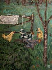 Le Grand Jardin (detail) (sylvain.collet) Tags: france peinture art arbre lesnabis enclos drapeau animaux poule