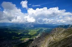 Mittenwald - Valley View (cnmark) Tags: germany deutschland bayern bavaria mittenwald karwendel isar valley reservoir isarstausee clouds wolken blue sky outdoors mountans mountain range gebirgskette alpen alps landscape ©allrightsreserved