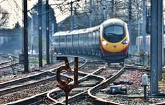 Fifteen in Focus (whosoever2) Tags: uk united kingdom gb great britain england nikon d7100 train railway railroad march 2019 carnforth lancashire pendolino class390 virgin trains spped limit sign