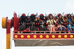 Fun at the Fair, Chennai (Geraint Rowland Photography) Tags: fair fairground amusementpark ride scary high fast people cultures indians muslims burkhas headscarfs funride funnyimage culturalshot races canon canonindia lensculturethestreets streetphotography documentaryphotography southasia travelinindia lifeinindia geraintrowlandphotography wwwgeraintrowlandcouk colourful laughter fear fun