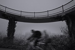 Bicycles Bridge 2964 A (jim.choate59) Tags: jchoate on1pics blackandwhite bw portland oregon pdx bicycle waterfront willamette downtown photowalk