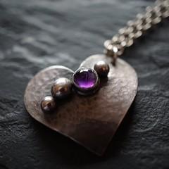 atomic heart pendant (quietpurplehaze07) Tags: clare jewellery purple amethyst chain heart slate atomic atomicheart necklace