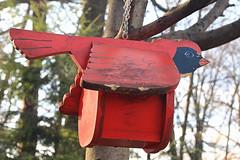 Red Wooden Bird Feeder (hbickel) Tags: birdfeeder birdhouse woodenbaldeagle photoaday pad canont6i canon