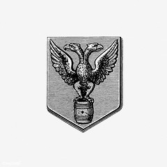 Bird crest (Free Public Domain Illustrations by rawpixel) Tags: monograph animal antique badge bird blackandwhite book chivalry classic crest decoration design double drawing eagle emblem engraving etching europe european family feather fierce head heraldic honor house illustration knight logo loyalty mascot medieval military name noble old ornament ornamental pair retro royalty shield strong symbol trübnercie two victorian vintage wing wings