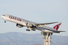 Qatar Airways Boeing 777-3DZ/ER A7-BAH (Mark Harris photography) Tags: spotting lax la canon 5d aviation boeing 77w plane qr qatar california